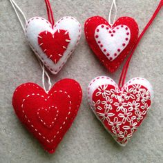 and white embroidered felt heart ornaments ready to ship Red and white embroidered felt heart ornamentsRed and white embroidered felt heart ornaments Christmas Hearts, Felt Christmas Ornaments, Valentine Crafts, Valentines, Needle Felted Ornaments, Felt Bunny, Fabric Hearts, Heart Ornament, Heart Decorations