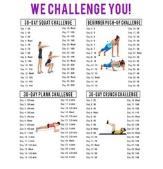 Here's an idea one of the people I coach gave me. A 30 day squat, plank and push up challenge. For a more current version of this challenge go here: Each day, after you get up and bef…