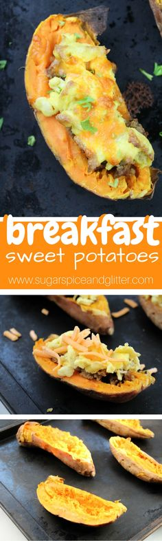 15-minute Breakfast Sweet Potatoes - a delicious, healthy breakfast inspired by twice-baked potatoes. A sweet and savory brunch vegetable recipe #VeggieNewYear ad