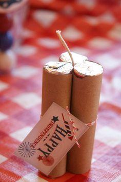 July 4th party favors  Lifesaver sticks of dynomite. $6.00, via Etsy.