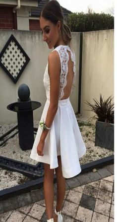cb449b4d3cf Short white lace simple open backs sexy unique style cocktail homecoming  prom gown dress