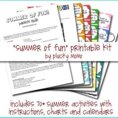 """Summer of Fun"" printable kit by plucky momo via Tip Junkie ____ includes 70+ summer activities with instructions, charts and calendars."