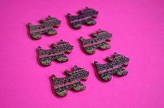 Wooden Scottie Dog Buttons Black Pink Green 6pk 28x20mm Scotty Puppy (DG4) £3.00