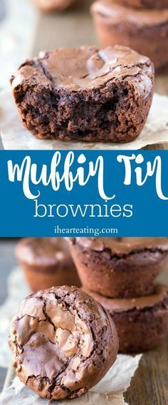 Muffin Tin Brownie Recipe - make perfect brownie bites in a muffin tin. Great for sundaes or other desserts! | ihearteating.com | #dessert #idea #icecream