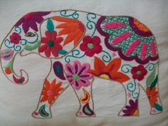 Shabby Chic Embroidery, Hand Embroidery Stitches, Crewel Embroidery, Hand Embroidery Designs, Embroidery Patterns, Cross Stitch Patterns, Elephant Pattern, Elephant Design, Bargello