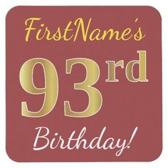 Red, Faux Gold 93rd Birthday + Custom Name Square Paper Coaster