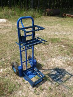 Stick welder cart made from a heavy duty harbor freight hand truck . Made the base for stick welder to allow air to flow from under and around unit to help with cooling .