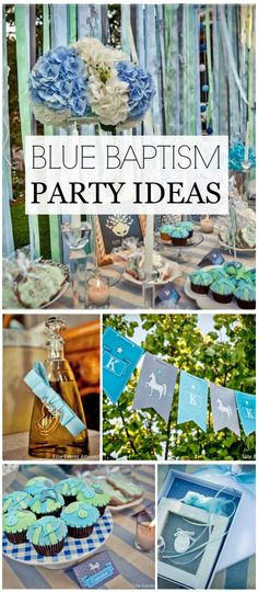 A carousel themed summer baptism party in blue with rocking horse accents! See more party planning ideas at CatchMyParty.com!