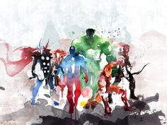 The Avengers Watercolor Painting