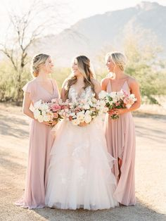 Romantic bridal party photo in beautiful light Dusty Rose Wedding, Pink Wedding Theme, Mod Wedding, Dream Wedding, Garden Wedding, Wedding Themes, Bridesmaid Dress Colors, Bridesmaids, Bridal Beauty
