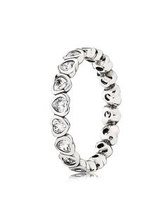 Have a heart: Don Pandora's sterling silver and cubic zirconia ring for a sparkling show of love that looks sweet in a stack.   Sterling silver/cubic zirconia   Imported   Style #190897CZ   Photo may