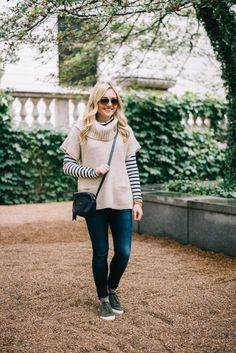 Fall Weekend Outfit // Striped Turtleneck + Short-Sleeved Sweater + Jeans + Sneakers