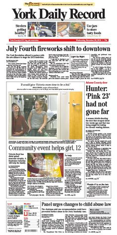 York Daily Record front page for Wednesday, Nov. 28, 2012