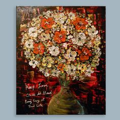 palette knife painting text inspirational floral by mattsart, $220.00