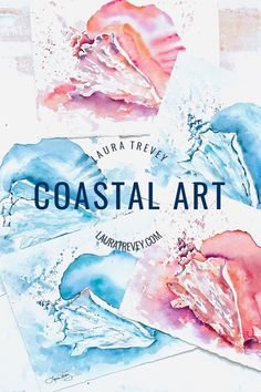 Laura Trevey coastal watercolors for sale plus free shipping
