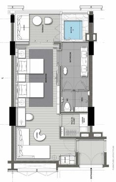 Apartment Layout Architecture Architects: Find the perfect materials for your next project through A Design Lounge, Design Loft, Hotel Room Design, Design Living Room, Studio Apartment Layout, Design Apartment, Apartment Plans, Hotel Floor Plan, House Floor Plans