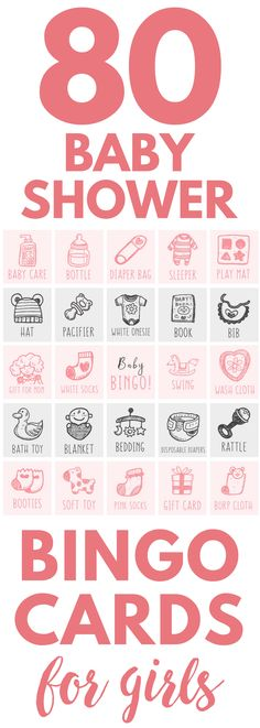 Printable baby shower games for girls! Get up to 80 baby shower bingo cards & download instantly. This is the perfect printable baby shower games for girls - it's pink with pictures and it's ready to print right away. It's a modern twist on a classic baby shower game & your guests will love it. #babyshowergame #printable #babyshowerideas