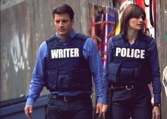 Blue and White on Castle: Rick Castle's father is James Brolin. Does that make him Josh Brolin's half-brother? Anyway, two things we love about Castle that keep us coming back: 1) Obviously the colors, 2) Beckett's hair changes from show to show, sometimes during a show, instead of year to year, and 3) references to Firefly.