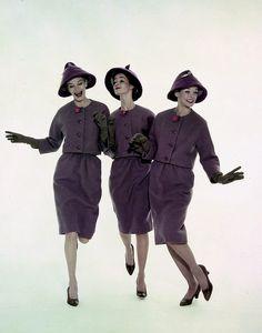 A cheerful trio of grape hued fashion wearing 1960s models. #vintage #fashion #1960s