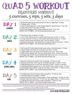 im so doing this! Workout plan for beginners. Short, easy to manage sets. Increase reps as your levels increase. Each day focus on a new body part. Printable.
