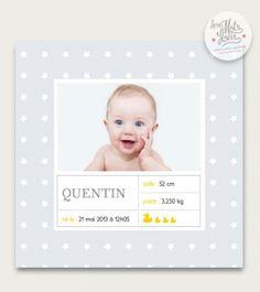 «Faire -part original garçon Quentin imprimé petites étoiles» (1,90 €)