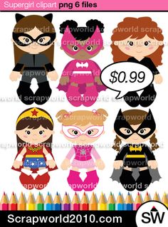This set superhero It consists of 6 super girls. High quality, transparent background, instant download to e-mail.See it bigger superheroes at low prices!