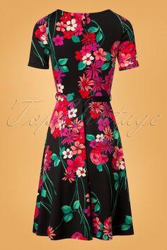 Betty Eden Swing Dress in Black Stunning Redhead, King Louie, Top Vintage, Swing Skirt, Frankenstein, Fitted Bodice, Dress Making, Wrap Dress, Floral Prints