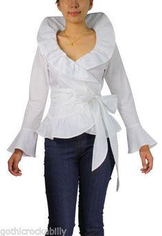 White Ruffle Gothic Wrap Gypsy Boho Vintage Renaissance Lolita Shirt Blouse