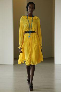 Oscar de la Renta yellow long sleeved pleated dress