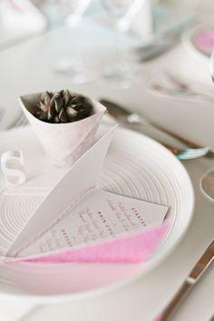 origami wedding menu and favor ideas