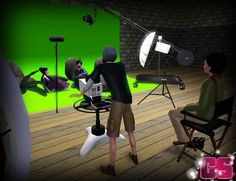 Film Set Studio Stuff | Capital Sims, including director's chair, camera and tripod, boom equipment, axial fan, strobe on stand. All recolourable.