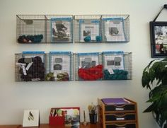 Use wire baskets to display and organize your yarn and projects! Via the Loopy Ewe wall storage yarn project display workspace wire basket Yarn Storage, Craft Storage, Storage Ideas, Yarn Projects, Knitting Projects, Yarn Organization, Organizing, Knitting Room, Wire Baskets