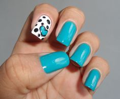 Have Fun little heart nail art by iesmalte - turquoise nails with white  black accent nail