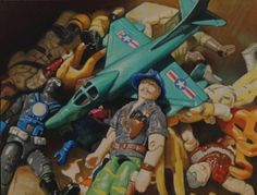 Call of Duty by Mississippi Artist, Allan Innman highlights heroic action figures.  It is Oil on Paper, mounted on panel.  Though small in size, 8 3/8 x 6 3/8 it looms large in creativity and talent.  On exhibit at New York Art Gallery, Elisa Contemporary Art