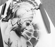 Roman Legionary detail drawing by Sergey Shanko