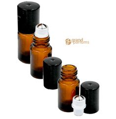 12 Empty 2mL Amber Micro Mini Glass Roller Ball Bottles with Glass or Stainless Steel Roller balls by GrandParfums. These are the perfect Amber Glass Sample Roll on Bottles for all you Essential Oils.  Dark Glass Protects your valuable Essential Oils and Essential Oil Blends.  Look for these great Micro Roll-on Bottles and our new 1.5ml Clear Sample Roll on Bottles in our Shop, and website