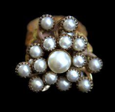 Vintage Faux Pearl Cluster Ring Crotchet by HeidisTreasureChest
