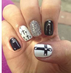 Nail designs ideas for women , modern nail art designs with stylish patterns . Cute nail art designs for girls , try these stylish nail art designs that you Cross Nail Designs, Cute Nail Designs, Get Nails, Fancy Nails, Gorgeous Nails, Pretty Nails, Cross Nails, Cross Nail Art, Easter Nail Designs