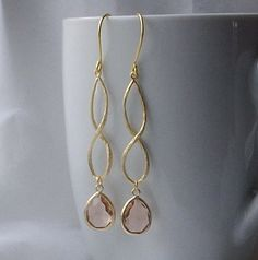 Nude Light Peach Crystal and Gold Dangle Earrings by PeriniDesigns, $32.00