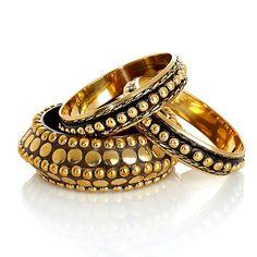 """BAJALIA """"Indali"""" Studded Wood and Brass Bracelet Set #accesories #bracelet #bangle"""