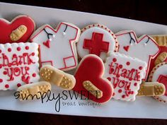 Thank you or get well decorated cut out sugar cookies