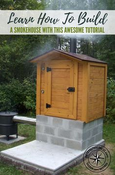 Learn How To Build A Smokehouse With This Awesome Tutorial — Building a smokehouse from scratch can be intimidating for those of us that haven't tackled anything quite like it. There are a lot of factors to consider-fire safety, sturdiness, and being sure Build A Smoker, Diy Smoker, Backyard Projects, Outdoor Projects, Diy Projects, Bbq Pitmasters, Homemade Smoker Plans, Smokehouse Bbq, Bbq Grill