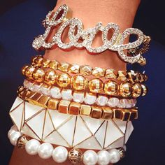 Bracelet-stacking heaven. Posted on Tumblr by use ddfox; created by Chyna Scott.