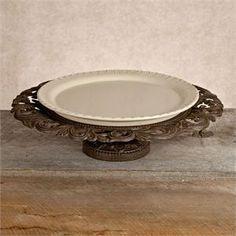 GG Ceramic and Metal Pedestal Platter
