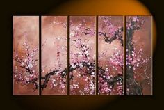 100% Hand Painted Artwork Flower Painting 5 Piece Wall Art Large Oil Painting Modern Art Canvas Art Gallery Wrapped Stretched and Ready to Hang by Paintingworld, http://www.amazon.com/dp/B00B9Q42MG/ref=cm_sw_r_pi_dp_3dcYrb0J4GYGZ