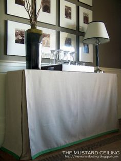 Tutorial & examples on sewing your own table skirt!  A great re-use for a beat up desk or table!