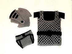This Knight Helmet / Diaper Cover / Chainmail vest Baby Set great for photography or any costume occasion!