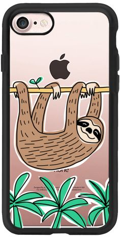Casetify iPhone 7 Classic Grip Case - Sloth - Tropical Animal - Palm Tree Leaves by Happy Cat Prints #Casetify