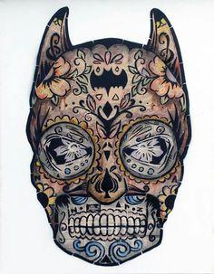 Batman sugar skull. Would make for an interesting tattoo. .