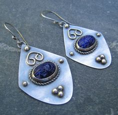 Cobalt Blue Vintage Glass Scarab and Sterling by TaBouTreasures